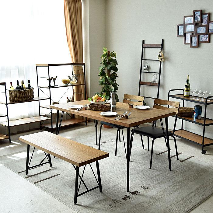ダイニングテーブルセット 幅135 4点セット 4人掛け ダイニングセット ダイニング4点セット 木製 レッドオーク アンテーク風 カントリテイスト ダイニングチェアー チェアー 食卓セット ダイニングテーブル ベンチ