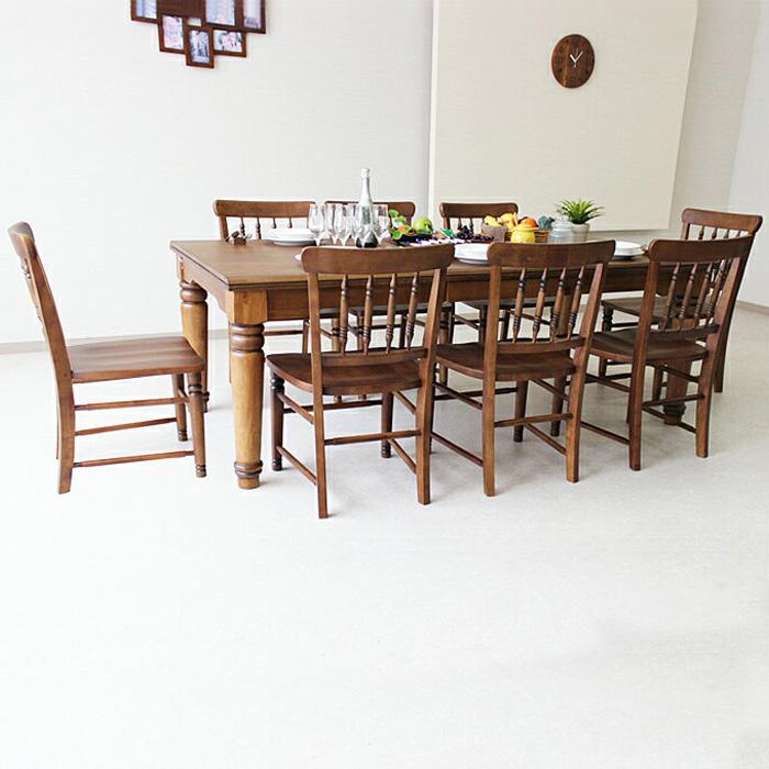 【クーポン配布中】幅200cm ダイニングテーブルセット 8人用 8人掛け 9点セット 無垢 引出し 収納 ダイニングセット ダイニングチェア ダイニングテーブル 食卓 食卓セット テーブル チェア 椅子 いす イス 木製 シンプル モダン カントリー ナチュラル 大川 家具通販