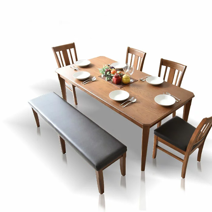 【送料無料】ダイニングテーブルセット 180cm ダイニングセット ダイニング6点セット 6人掛け ダイニングチェア ダイニングテーブル 食卓 食卓セット テーブル チェア 椅子 イス シンプル レトロテイスト 板座面 PVC座面