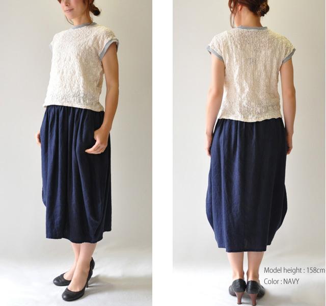 30代~40代 ファッションコーディネート タンブルリネン コクーンスカート スカート レディース 日本製 Vent Blanc VBS171304 ヴァンブランhQsCtdr