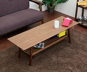 【emo Living Table】 EMO (エモ) エモ ミッドセンチュリー調、スクエア、ウォールナット・棚付き、リビングテーブル