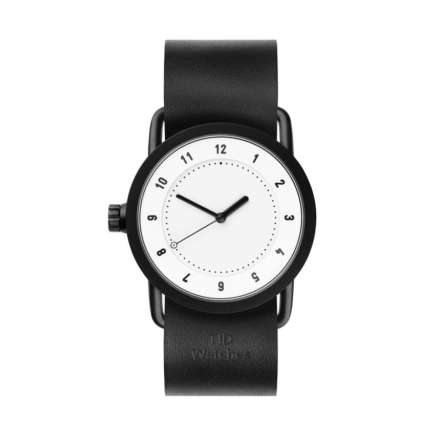 【TID Watches】ティッドウォッチ 36mm ホワイトフェイス×ブラックレザー 腕時計 No.1 WHITE TID01-36WH