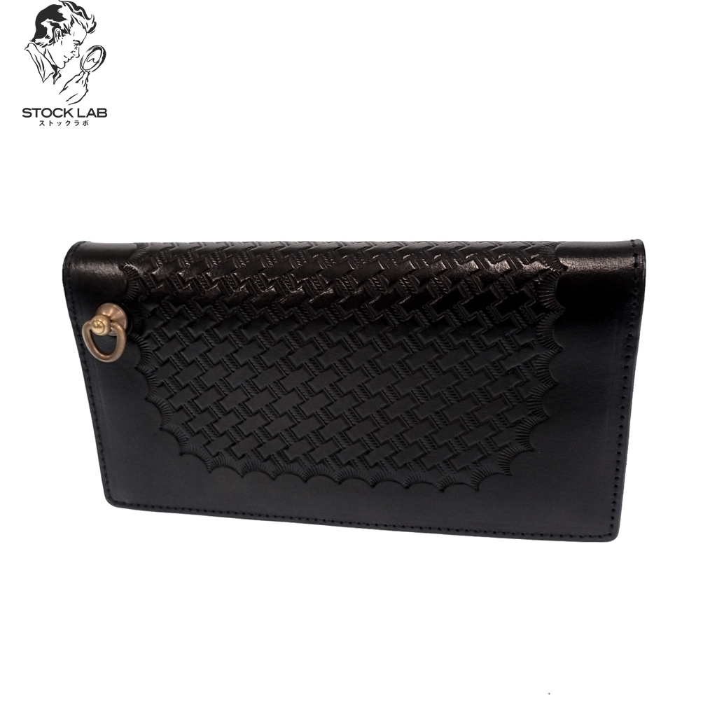 CALEE キャリー 17SS Embossing leather long wallet レザーロングウォレット 二つ折り長財布 黒 メンズ 箱付き【中古】