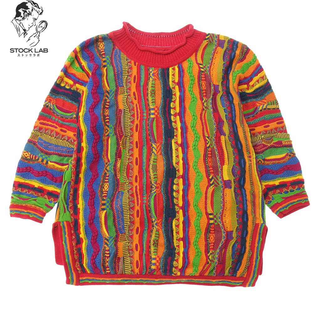COOGI Cousy 90\'s multicolored over size 3D knit sweater S multi-men