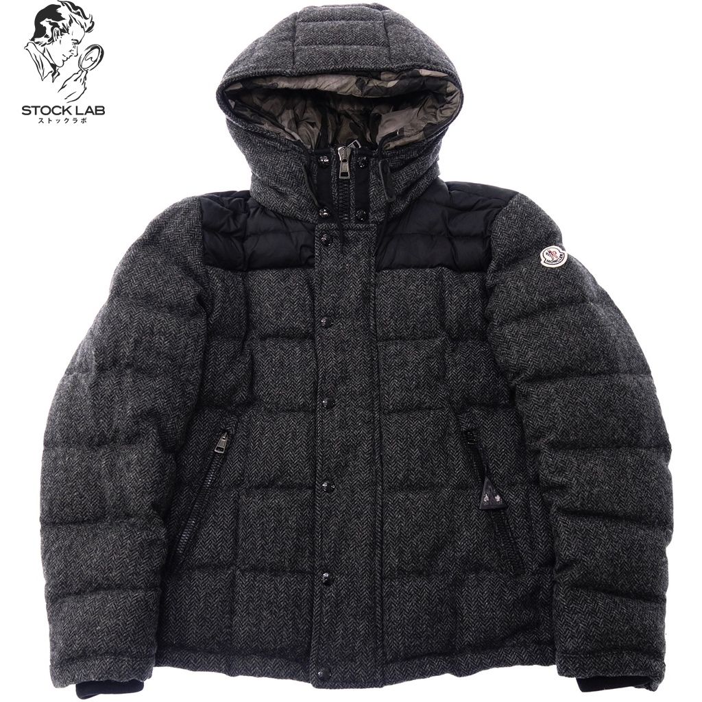 b33c9357cf79f MONCLER Monk rail GUYENNE ギエンヌツイード camouflage down jacket 2 gray X  camouflage ...