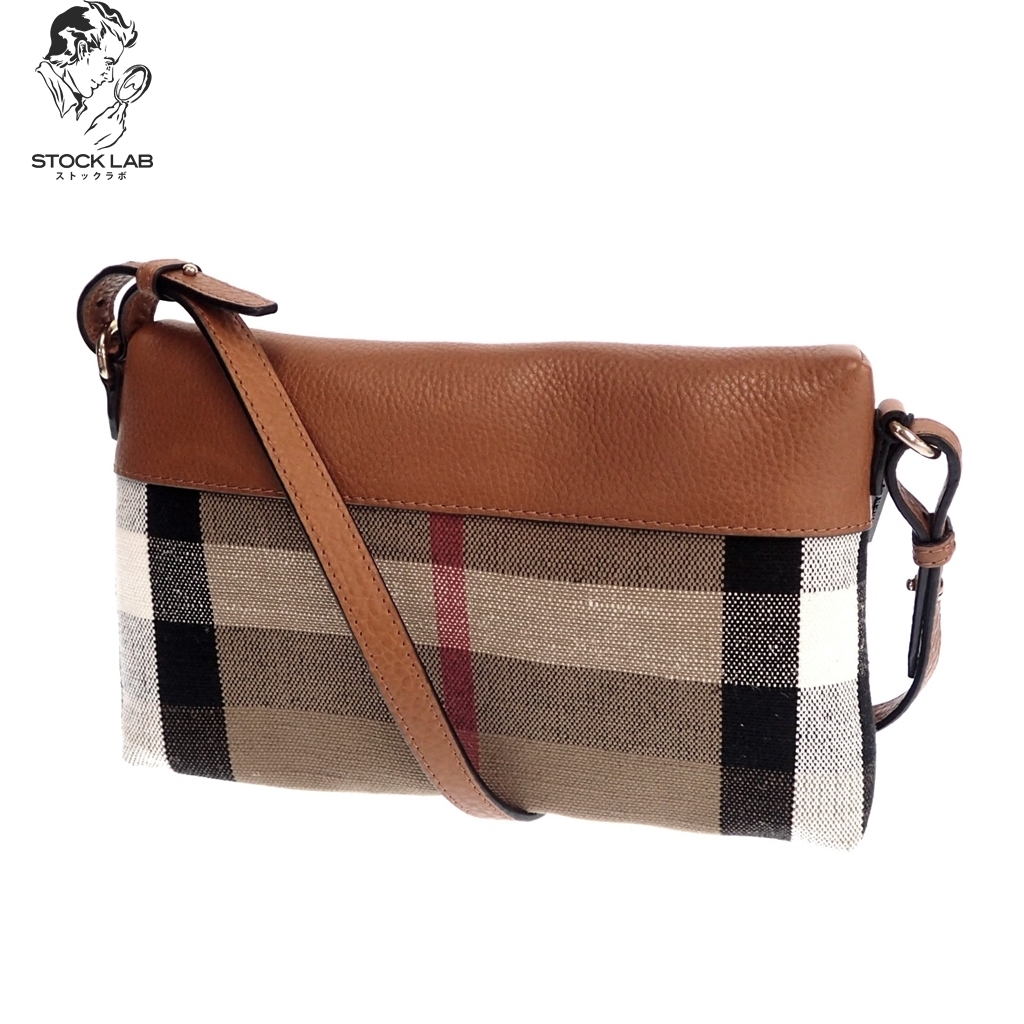 BURBERRY Burberry house check cowhide leather X canvas shoulder bag tea  system Lady s 833184f76e07f