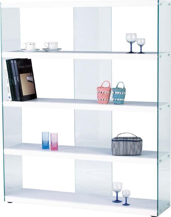 【東谷】ワイドグラスシェルフ 収納ラック 飾り棚 HAB-625WH おしゃれ/ガラス【東谷商品以外と同梱不可】
