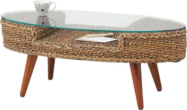 【東谷】クラール オーバルテーブル NRT-415  楕円/ガラステーブル/センターテーブル【東谷商品以外と同梱不可】