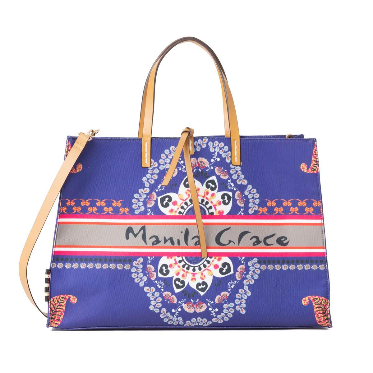 [3月末入荷のご予約] [2020春夏] Manila Grace[マニラグレース] [バッグ] S0WB105ES キャンバスバッグ,レディースバッグ,エスニック