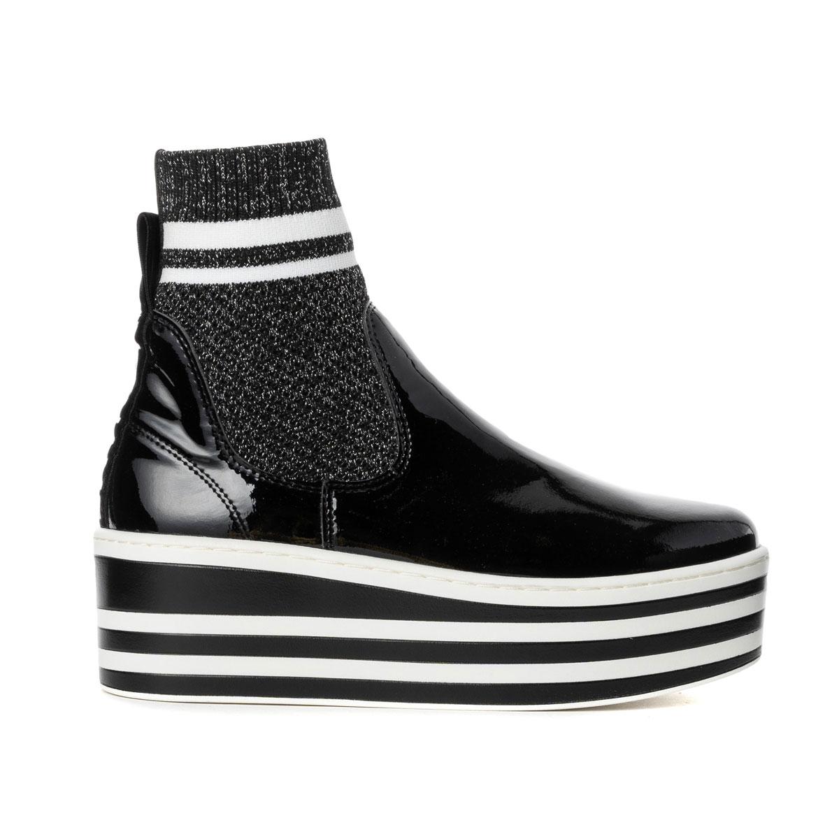 [40%OFF]NO NAME[ノーネーム][スニーカー]BOOST(ブースト)-92981-BLACK[ブラック] レディース 靴 シューズ スニーカー ソックススニーカー 厚底 プラットフォーム エナメル