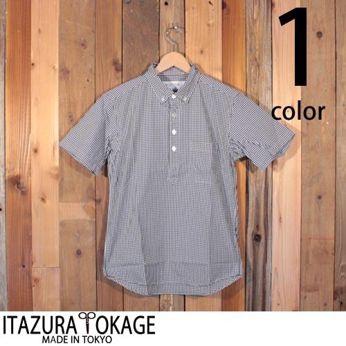 イタズラトカゲ Itazura Tokage ギンガム チェック プルオーバー ボタンダウン シャツ 半袖 18-SS-022