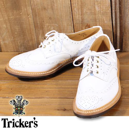 トリッカーズ Tricker's ウィングチップ シューズ 短靴 バートン Bourton WHITE M7292