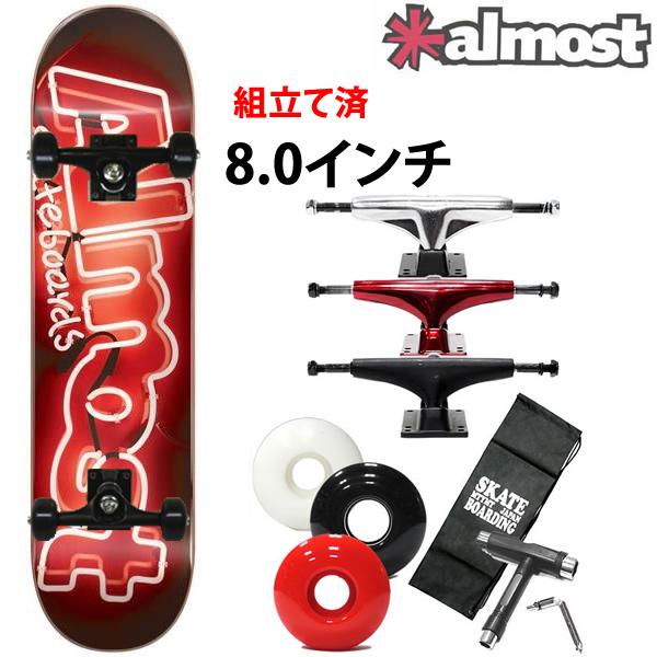 初心者におすすめのスケボー コンプリート ALMOST オルモスト NEON SIGN RED 8.0×31.6インチ 選べるトラック・ウィール(レンチ+ケースサービス!) スケートボード 【s2】