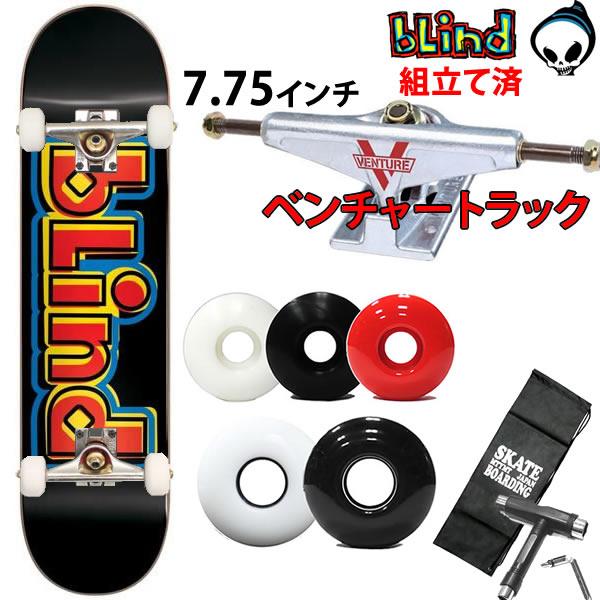 スケボーコンプリート ベンチャートラックセット BLIND SCRAMBLE BLACK 7.75×31.2 ブラインド スケートボード 完成品