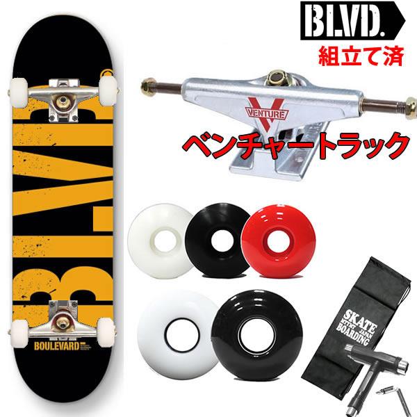 ベンチャートラックセット スケートボード コンプリート BLVD(ブルーバード) TEAM BIG LOGO BLACK/ORANGE選べるウィール スケートボード コンプリート【s2】
