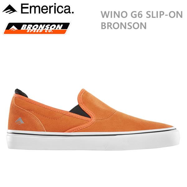 エメリカ スニーカー WINO G6 SLIP ON X BRONSON オレンジ emerica シューズ スケートボード 靴【s2】