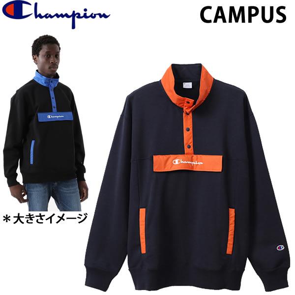 チャンピオン CHAMPION メンズ ハーフスナップスウェットシャツ  C3-R014 ネイビーオレンジ  370 HALF SNAP SWEATSHIRT CAMPUS キャンパスシリーズ 日本正規品