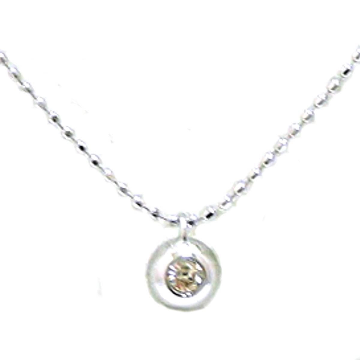 【中古】 1粒ダイヤトップネックレス K18WG/18金ホワイトゴールド×ダイヤモンド 首周り約40cm 重量約1.2g FS Bランク