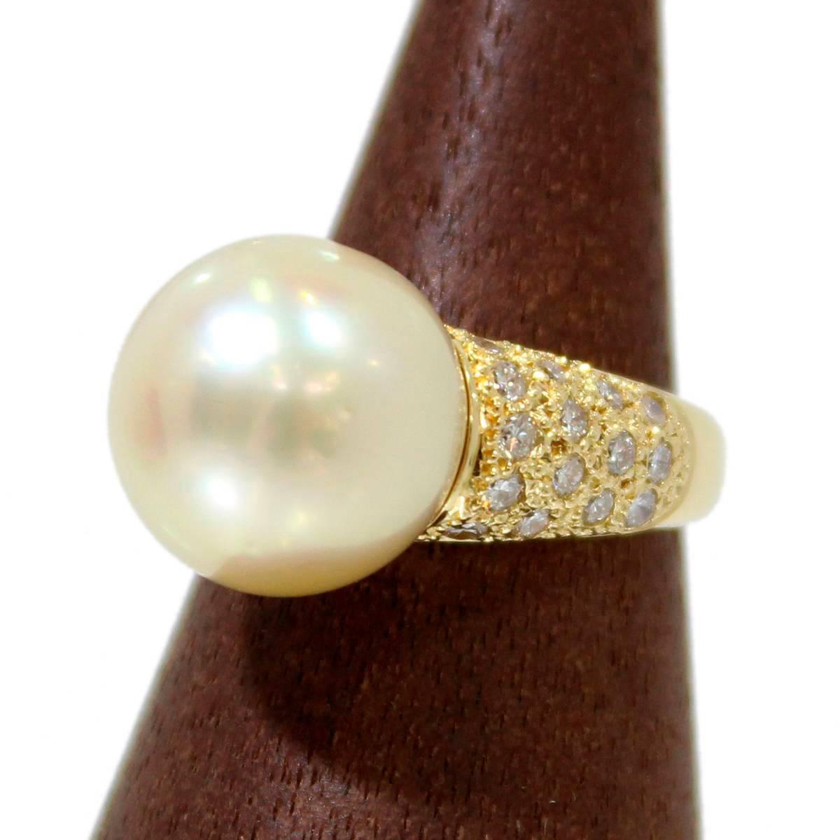 【中古】 南洋真珠リング 約12号 パール K18×ダイヤモンド×南洋真珠 総重量:8.3g FS 美品 磨き仕上げ Aランク