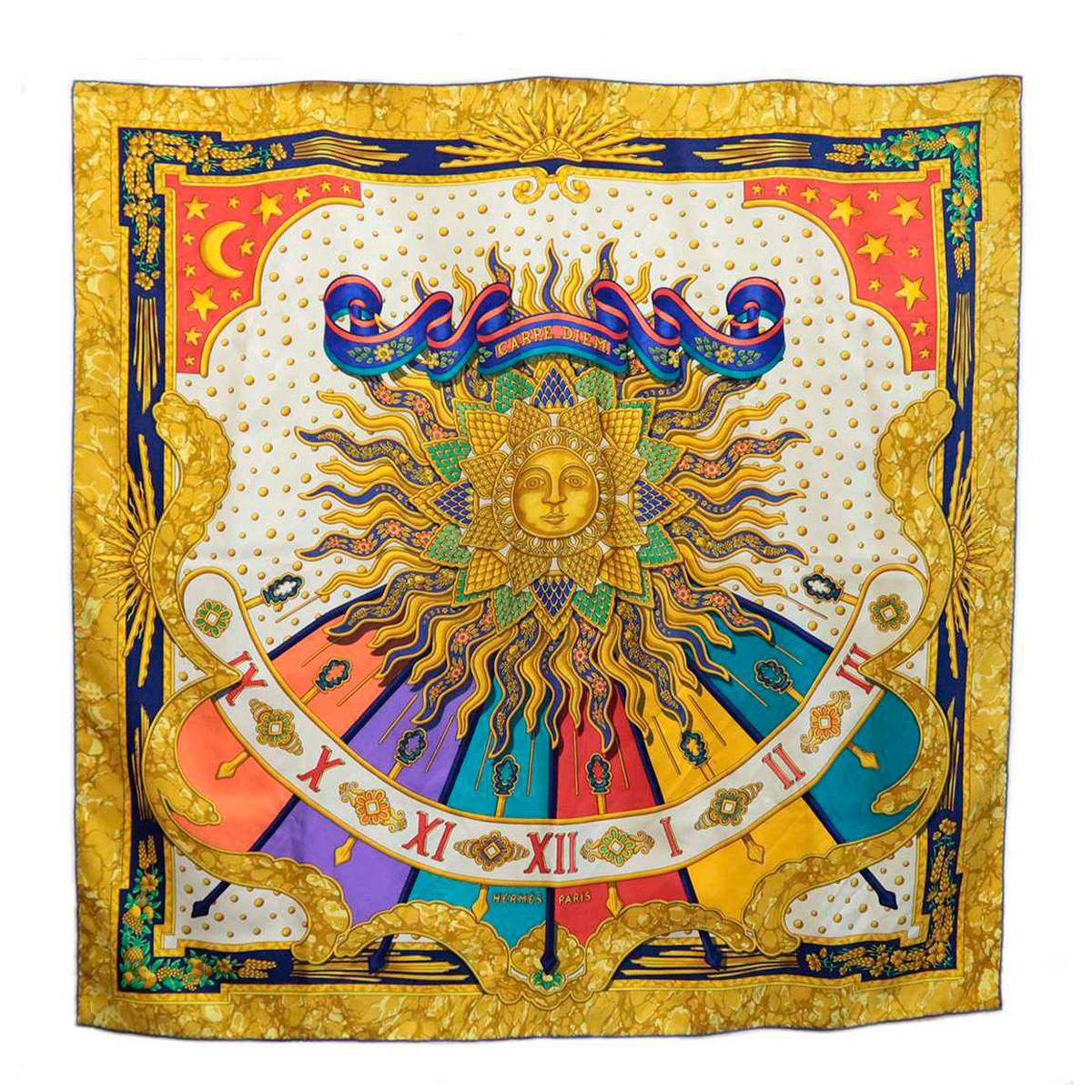 【中古】 HERMES/エルメス カレ スカーフ 太陽柄 シルク100% KA Bランク