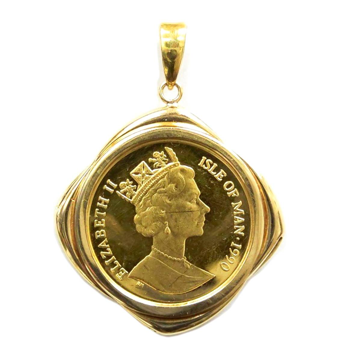 【中古】 K24 純金 ゴールド マン島 キャットコイン 1/5oz 金貨 ペンダントトップ 枠 K18 10.2g KA Bランク