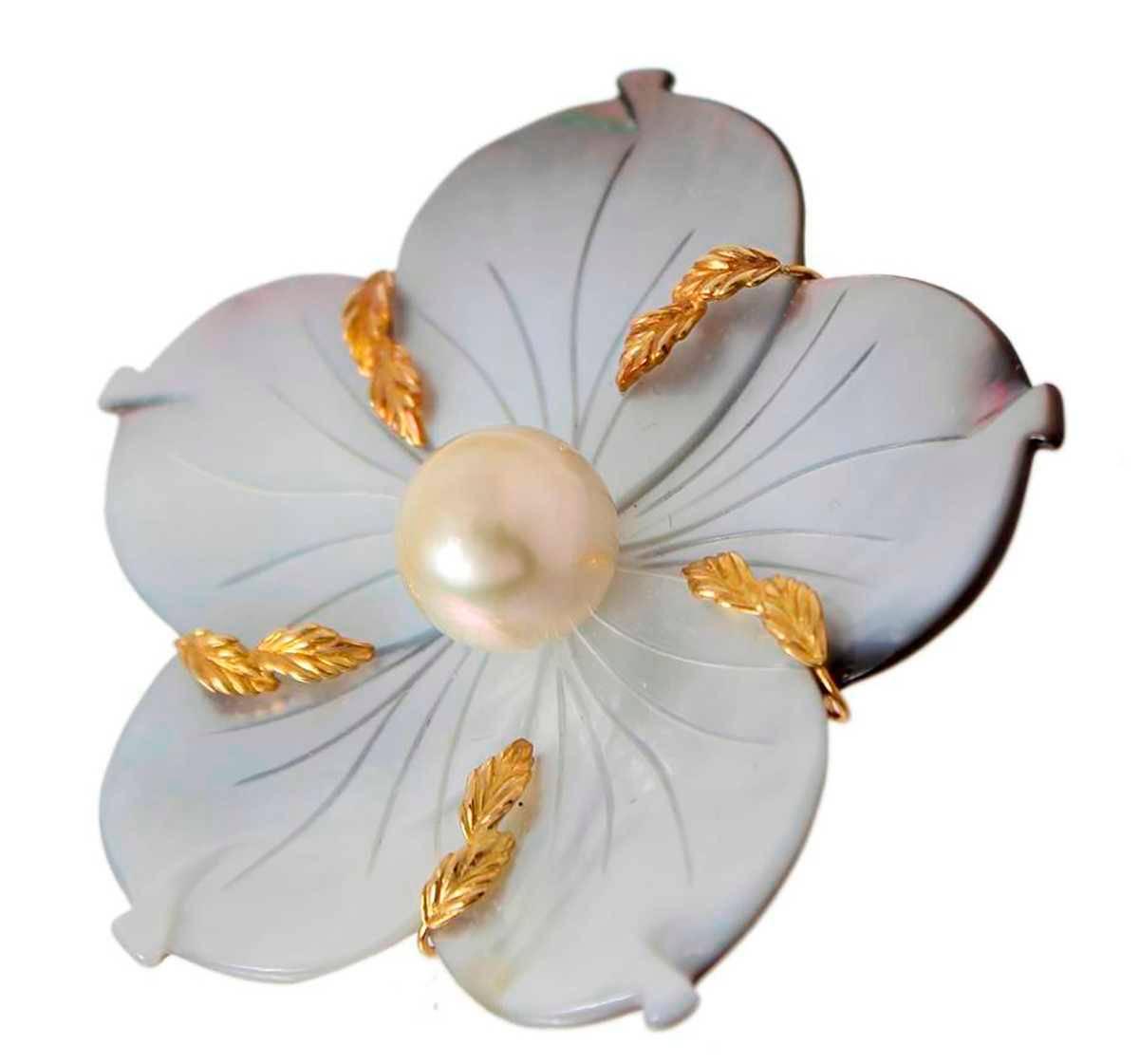 【中古】 梅の花モチーフ パール シェルブローチ ペンダントトップ 和装小物 K18YG/18金イエローゴールド×天然シェル7×6.7(cm)×南洋真珠14.0-14.3mm珠 重量28.4g NT-no 美品 Aランク