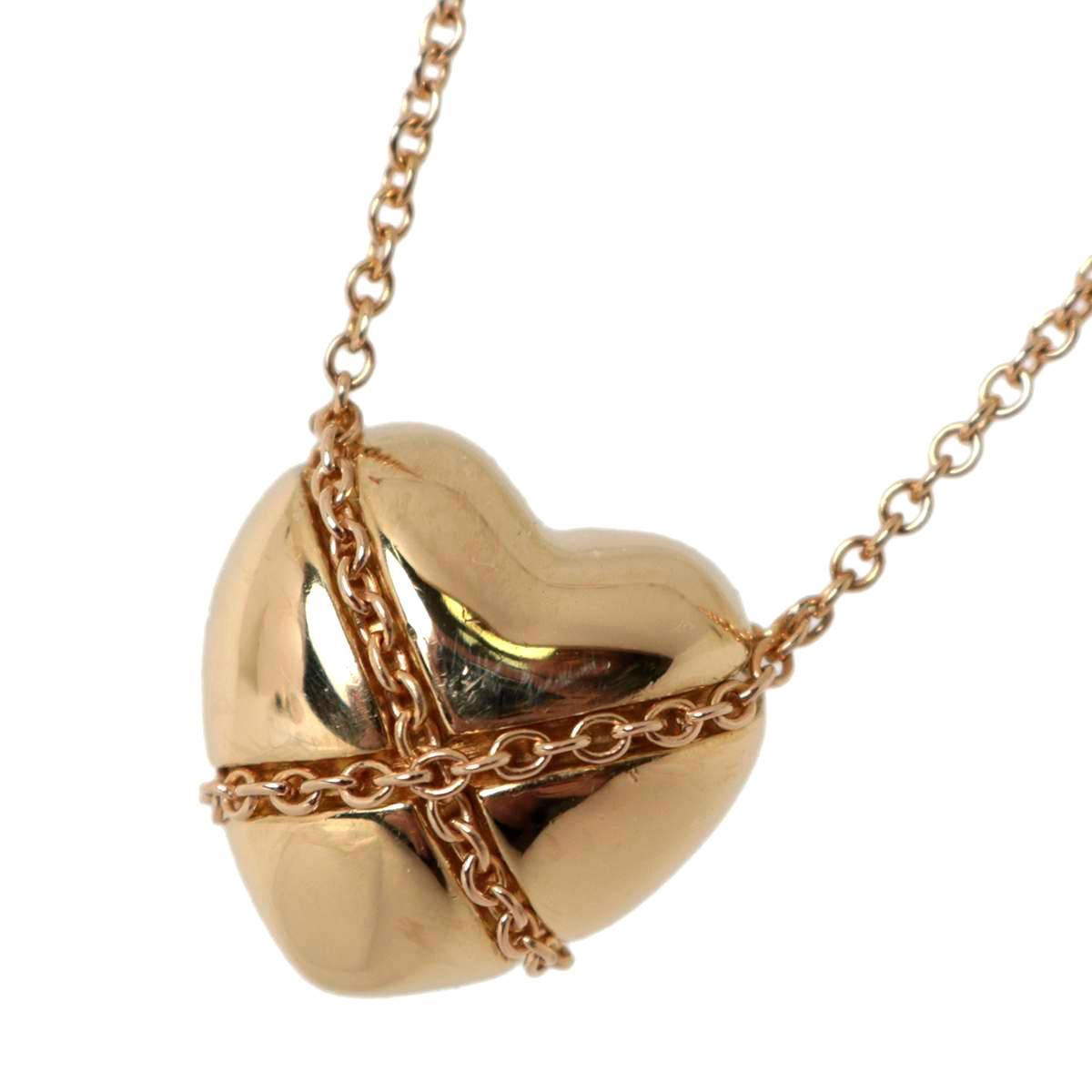 【中古】 Tiffany & Co./ティファニーK18YGハート チェーンクロスペンダントネックレス 首回り47cm 6.0g 18金イエローゴールド ジュエリーペンネック KZ ABランク