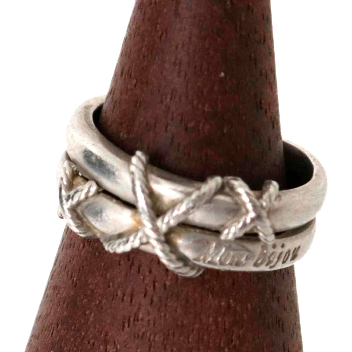 【中古】 Mon Bijou / モンビジュ XXX デザインリング 指輪 Pt900/プラチナ900 7.5号 リング幅約4.46-7.52(mm) 重量約7g NT Bランク