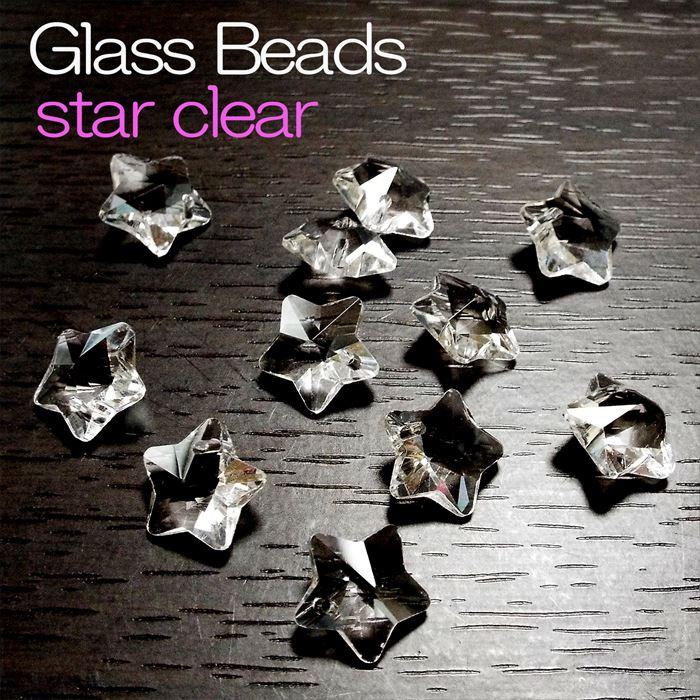クリスタルガラス ビーズ 星型 スター クリア 一つ穴 5個セット パワーストーン アクセサリー ハンドメイド