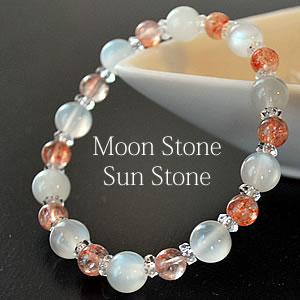 ホワイトムーンストーン サンストーン 水晶 ブレスレット 天然石 パワーストーン