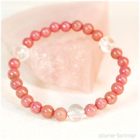 天然的蔷薇辉石(水晶)light呼吸<石头功率斯通手镯>蔷薇辉石|蔷薇辉石|晶体石英○是1