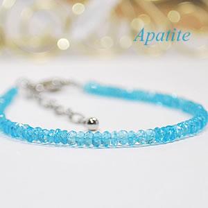 [宝石質]ブルーアパタイトAAAAA(カット)<天然石ブレスレット・パワーストーン>燐灰石【人間関係】