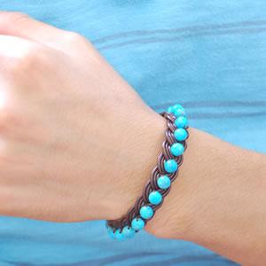 皮革手镯,绿松石 (土耳其岩) (macramebles) < 天然石手链或以上,石 > 蓝色绿松石 | 皮革 1 * (1)