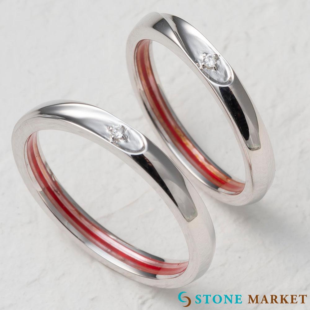 赤い糸ペアリング ストーンマーケット ペアリング シルバー990 二つ合わせるとハートになるさりげないデザイン・二人だけの秘密でとても人気♪
