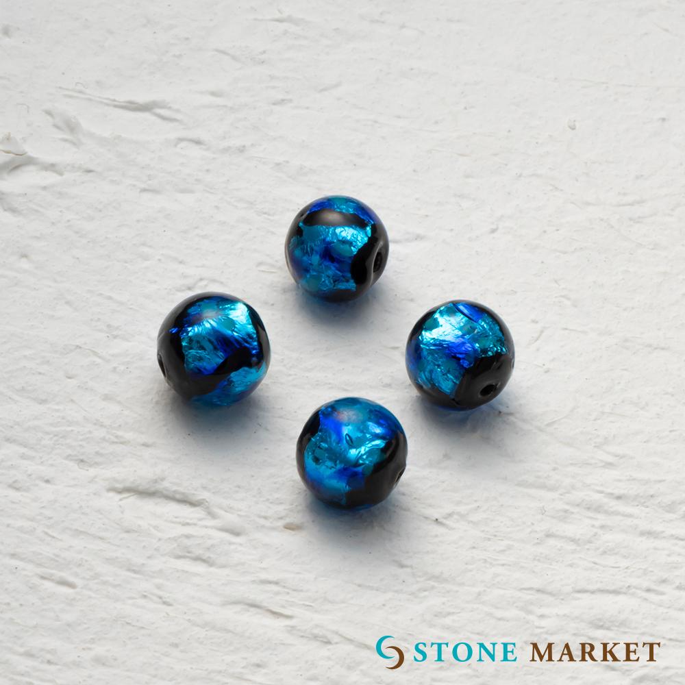 即出荷 ホタルビーズ ルース ハンドメイド 8mm 4粒 アクセサリーパーツとして大人気 ホタルビース おしゃれ ホタルビーズブルー ストーンマーケット 銀箔とガラスを組み合わせ特殊な技法で作られたホタルガラス