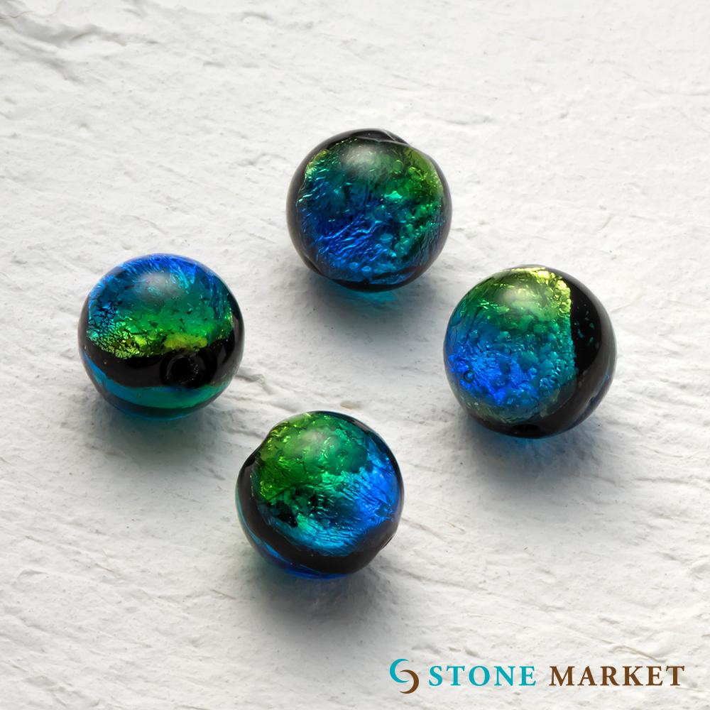 パワーストーン 天然石 爆売り ビーズ ルース 銀箔とガラスを組み合わせ特殊な技法で作られたホタルガラス アクセサリーパーツとして大人気 永遠の定番モデル ストーンマーケット ホタルビーズレインボー 4粒セット 12mm