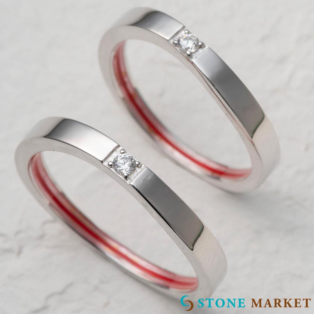 赤い糸ペアリング 日本全国 送料無料 ストーンマーケット ペアリング 18%OFF 内側にはシルクの赤い糸で思いが伝わる シンプルなデザインリングにキラッとワンポイント シルバー990