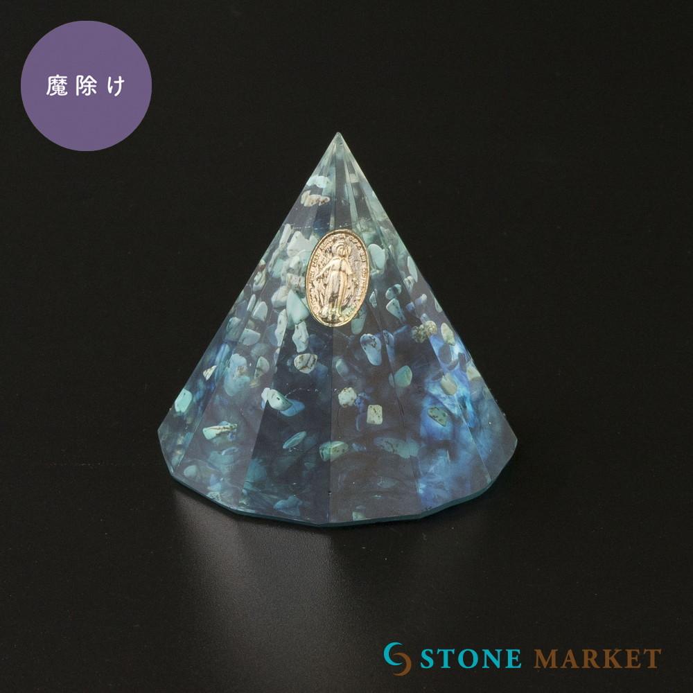 置物 激安セール 天然石 使い勝手の良い ターコイズ 数量限定 円柱 天然石入りレジン置物
