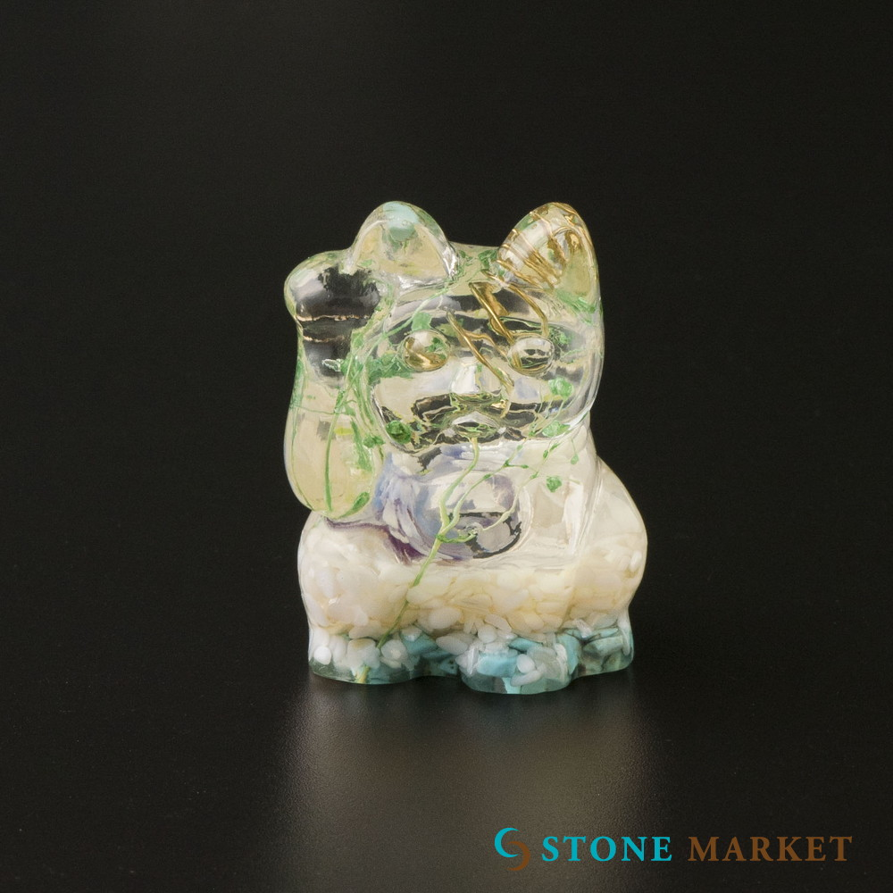 信用 置物 天然石 無料 シェル 天然石入りレジン置物 招き猫