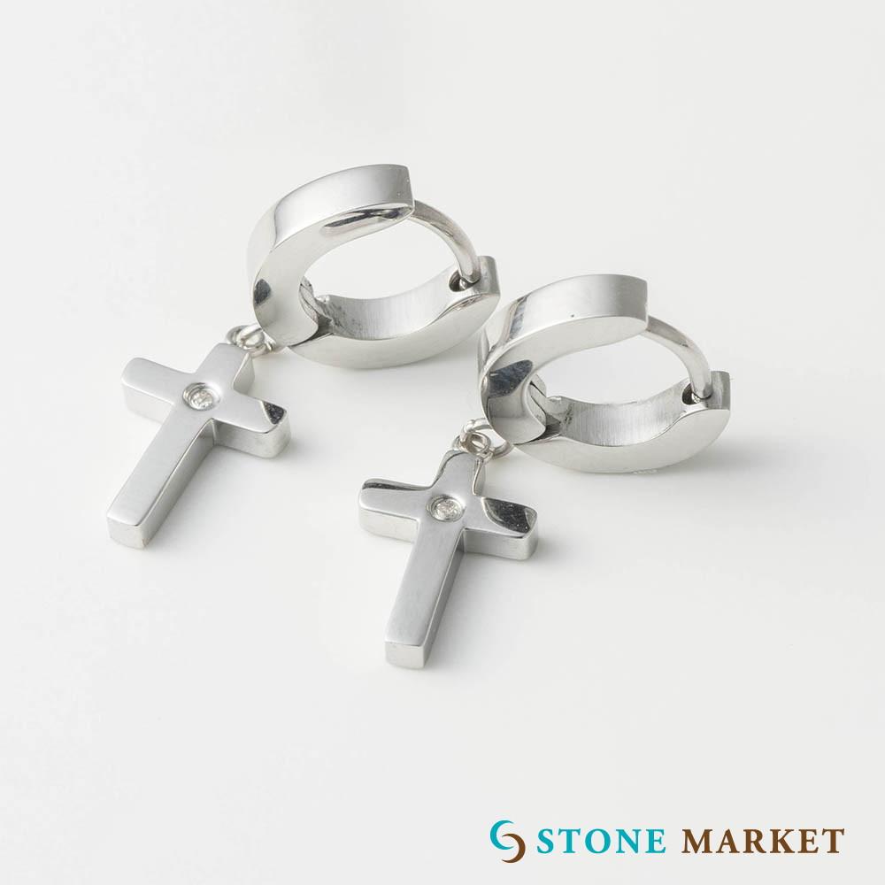 ピアス イヤリング ステンレス ダイヤモンド 現金特価 金属アレルギー クロスデザインダイヤモンドメンズピアス サージカルステンレス 低アレルギー素材 供え