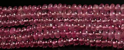 3~5mmキャンディピンクトルマリン宝石質ボタン 連売りビーズ(インド加工)