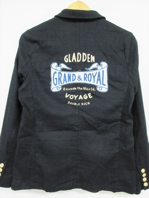 BY GLADHAND 16SS VOYAGE JACKET 刺繍入り リネン混 3B ジャケット 黒 S A80/A6489【中古】
