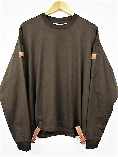 SUNSEA サンシー 19AW 19A03 FAT BELTED LONG-T ロングTシャツ カットソー BROWN サイズ3 正規品 T80/23837【中古】
