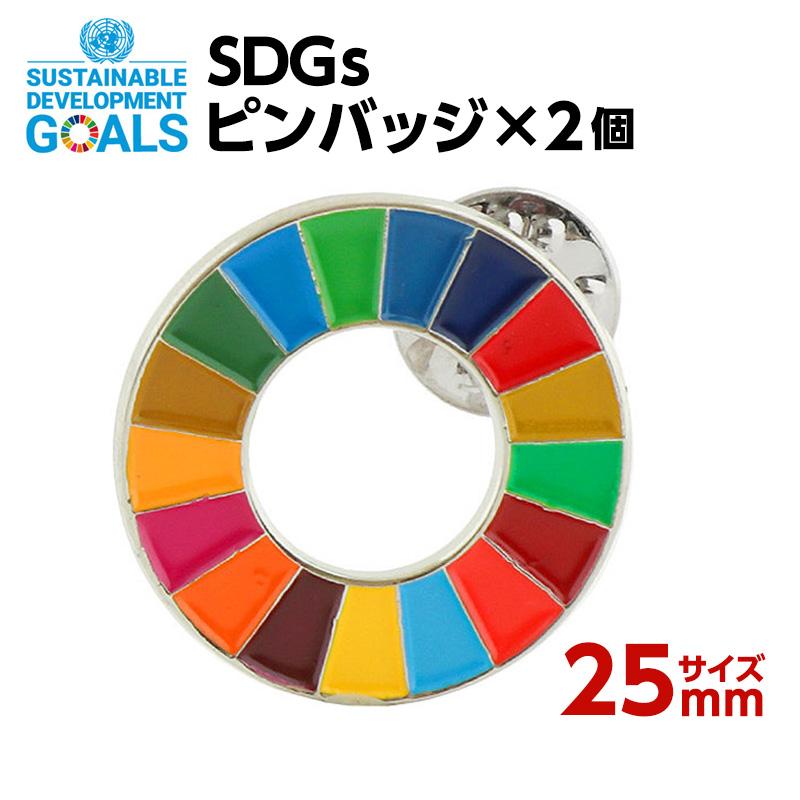SDGsに賛同される方 SDGsに関わる活動をされているは メーカー再生品 ぜひご活用ください 買物 日本政府も推進しているので今後徐々に普及してくると思われます SDGS 2個入り ピンバッジ 25mmサイズ #001