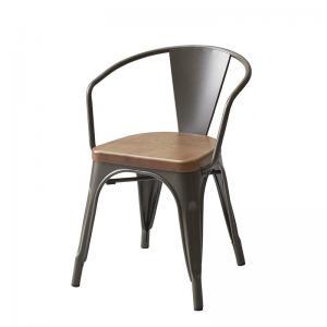 ダイニングチェア 1脚 アームチェア 幅52×奥行50×高さ71(座面高44)cm ヴィンテージ風 1人掛け 1人がけ 1人用 一人掛け ダイニングチェア いす イス 椅子 チェア チェアー 食卓椅子 食事椅子 アンティークシルバー