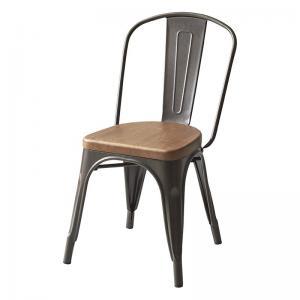 ダイニングチェア 1脚 スチールチェア 幅45×奥行55×高さ81(座面高44)cm ヴィンテージ風 1人掛け 1人がけ 1人用 一人掛け ダイニングチェア いす イス 椅子 チェア チェアー 食卓椅子 食事椅子 アンティークシルバー