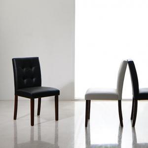 ダイニングチェア 2脚組 幅40×奥行53.5×高さ83.5(座面高44)cm ダイニングチェアのみ 食卓イス ダイニングチェアー 食卓椅子 チェア いす 椅子 ダイニングいす 天然木 合成皮革 PVCレザー ブラック ホワイト ホテルスタイル デザインチェア