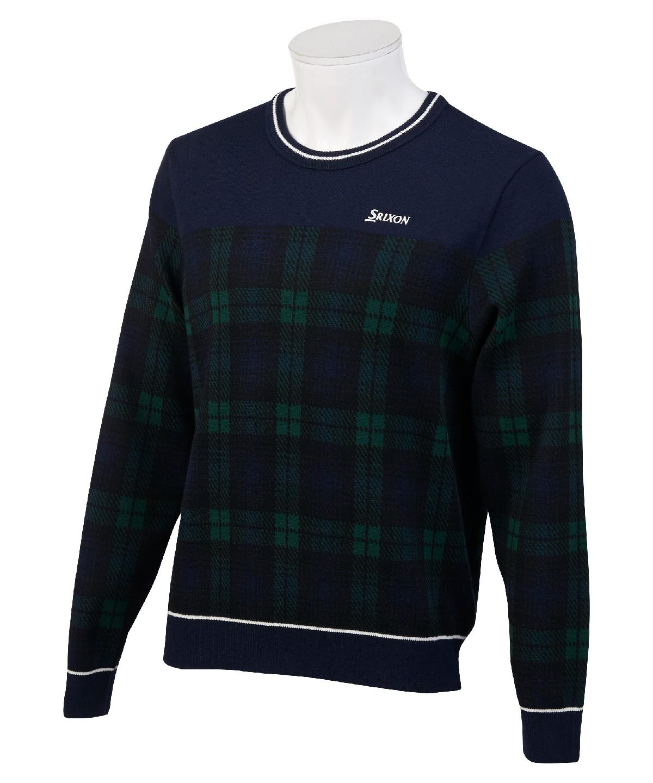 ゴルフトップス ニット セーター 上 トップス 丸首  【公式】スリクソン Crew neck sweater / クルーネックセーター メンズ ウェア セーター フリース ニット ゴルフ ゴルフウェア スポーツ RGMOJL03