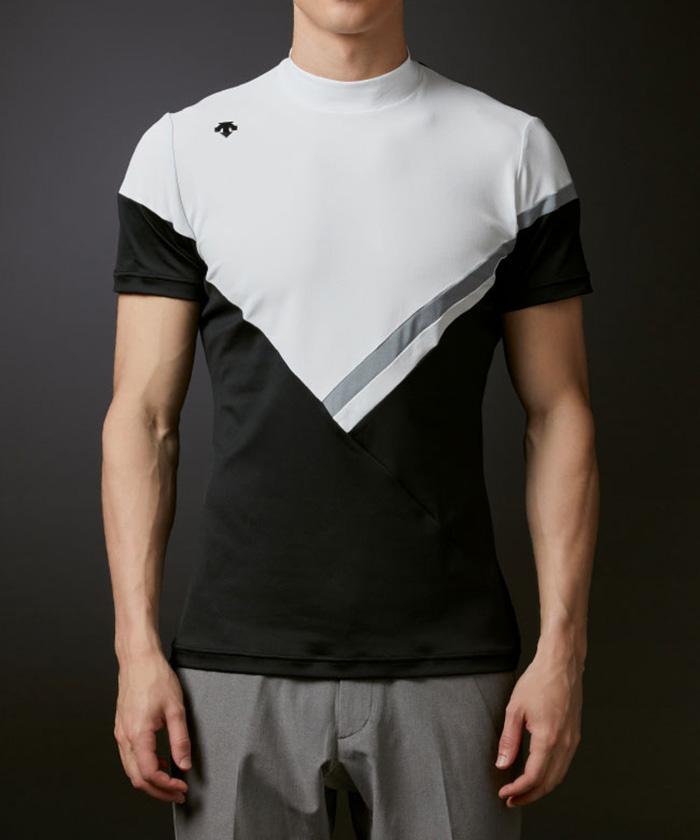 ポロ 公式 デサントゴルフ リサイクルポリエステルスムース切り替えモックネックシャツ メンズ ウェア スポーツウェア DGMSJA07 ゴルフウェア シャツ 新作通販 ポロシャツ ゴルフ 激安卸販売新品