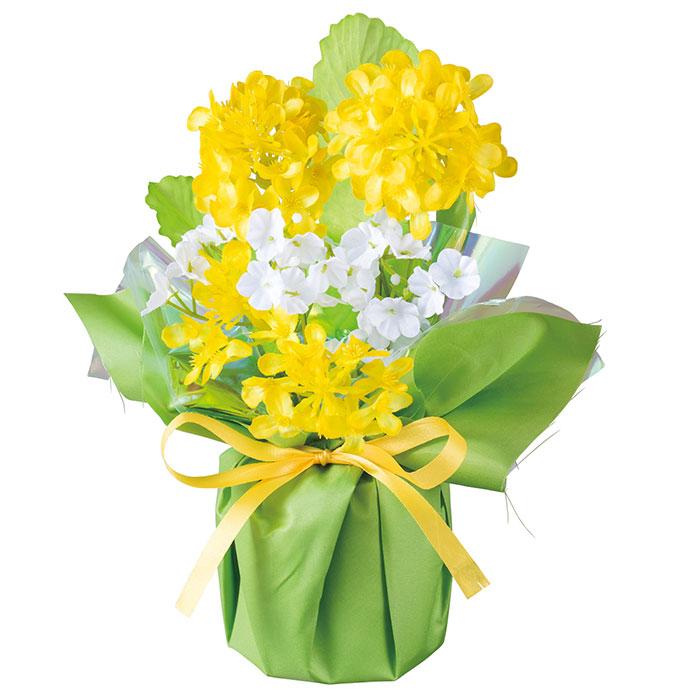 送料無料 造花 アレンジ 店舗ディスプレイ 菜の花ラッピングポット 1個テーブルに棚に、黄色い菜の花が明るい雰囲気をアップ!造花 アレンジ 店舗ディスプレイ